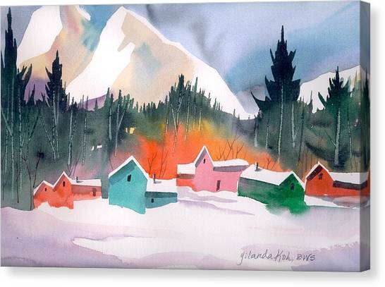 Winter Cottages Canvas Print