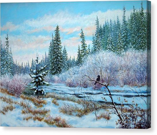 Winter Creek With Crow Canvas Print