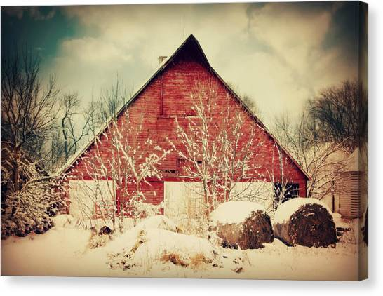 Winter Day On The Farm Canvas Print