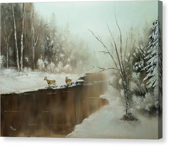 Winter Deer Run Canvas Print