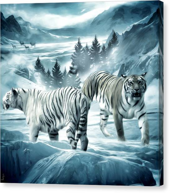 Siberian Cats Canvas Print - Winter Deuces by Lourry Legarde