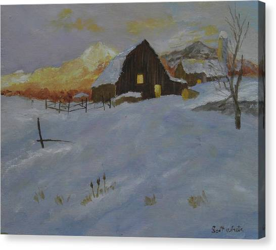 Winter Dusk On The Farm Canvas Print