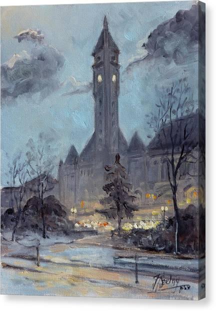 Canvas Print - Winter Dusk - Union Station by Irek Szelag