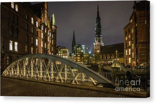 Winter Evening In Hamburg  Canvas Print