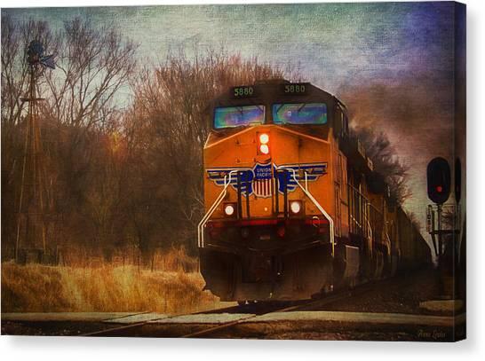 Winter Evening Union Pacific Train Canvas Print