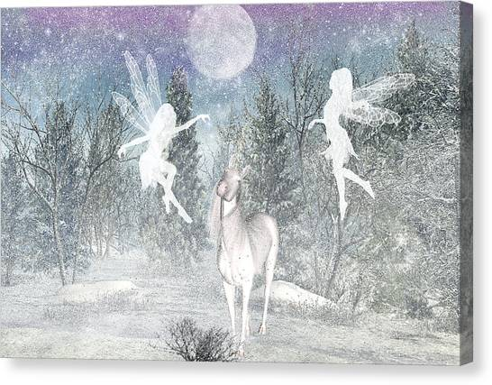 Winter Fairy Magic Canvas Print by Lisa Roy