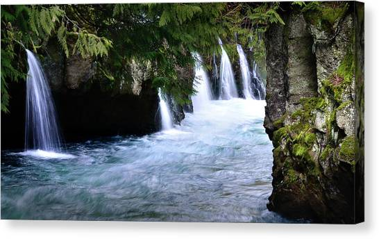 Winter Falls On The White Salmon Canvas Print by Kevin Felts