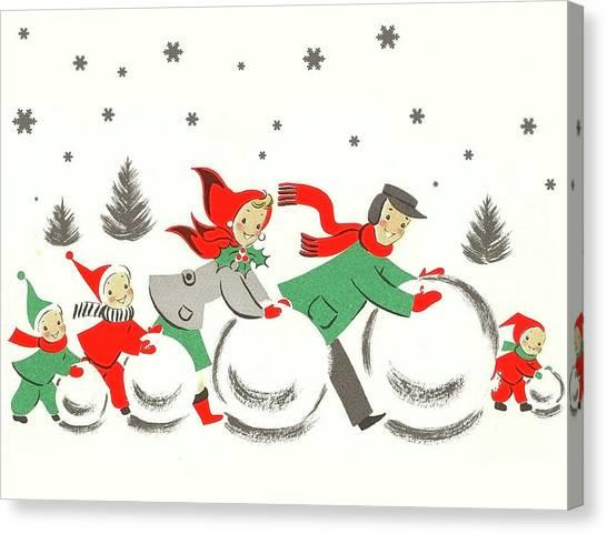 Snowball Canvas Print - Winter Family Fun by Long Shot