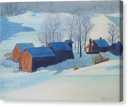 Winter Farm Canvas Print by Ally Benbrook