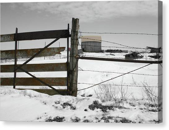 Canvas Print featuring the photograph Winter Fence Farm by Dylan Punke