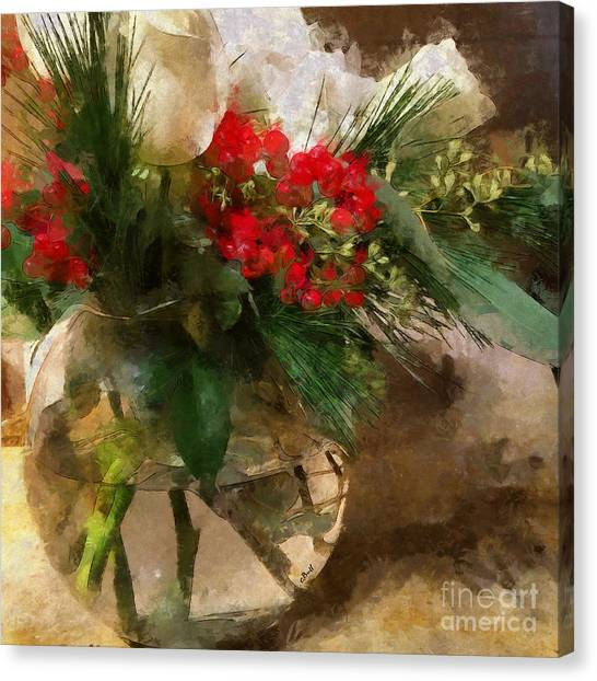 Winter Flowers In Glass Vase Canvas Print