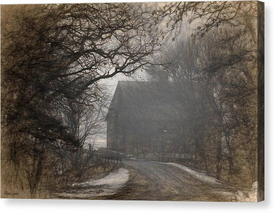 Winter Foggy Countryside Road And Barn Canvas Print