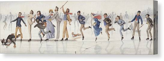 Figure Skating Canvas Print - Winter Fun by Charles Altamont Doyle
