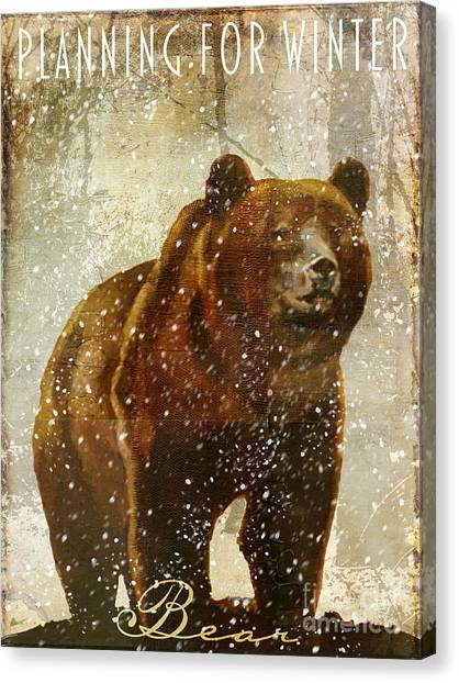 Rustic Canvas Print - Winter Game Bear by Mindy Sommers