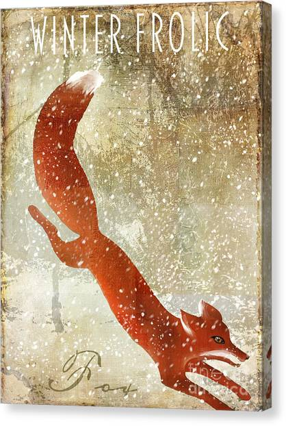 Fox Canvas Print - Winter Game Fox by Mindy Sommers