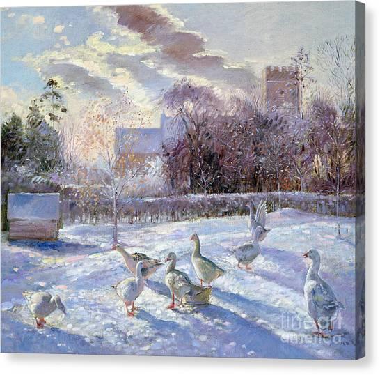 Church Yard Canvas Print - Winter Geese In Church Meadow by Timothy Easton