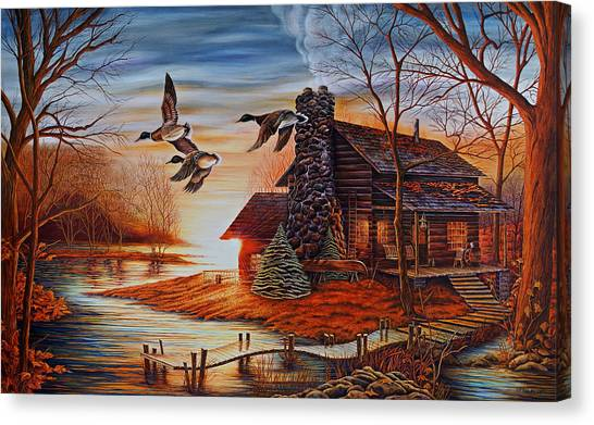Log Cabin Canvas Print - Winter Getaway by Carmen Del Valle
