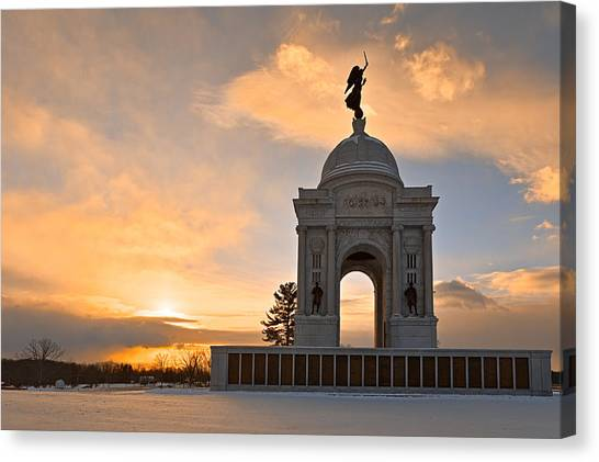 Winter Gettysburg Sunrise Canvas Print