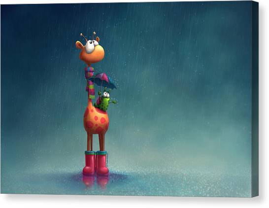 Storm Canvas Print - Winter Giraffe by Tooshtoosh