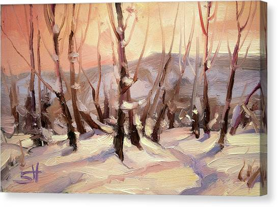 Skiing Canvas Print - Winter Grove by Steve Henderson