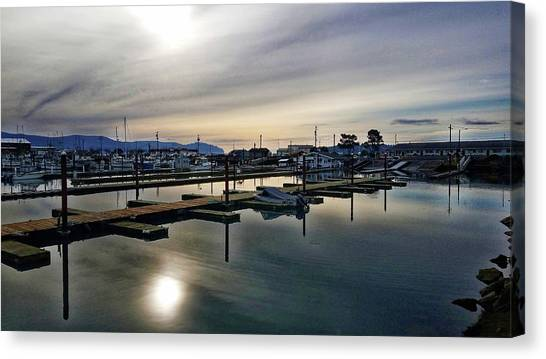 Canvas Print featuring the photograph Winter Harbor Revisited #mobilephotography by Chriss Pagani