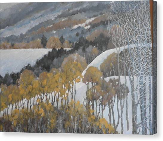 Winter Hills Canvas Print by Giacomo Alessandro Morotti