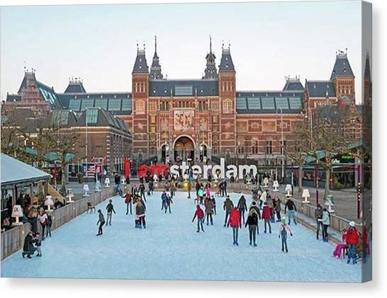 Rijksmuseum Canvas Print - Winter Holidays At Rijksmuseum In by Worldfotoart  Masselink