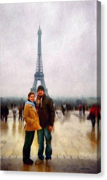 Winter Honeymoon In Paris Canvas Print
