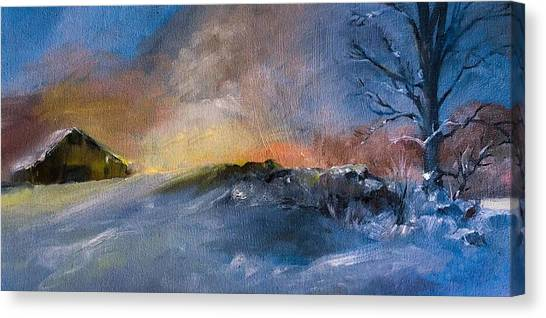 Winter Horse Barn Snowy Landscape Canvas Print