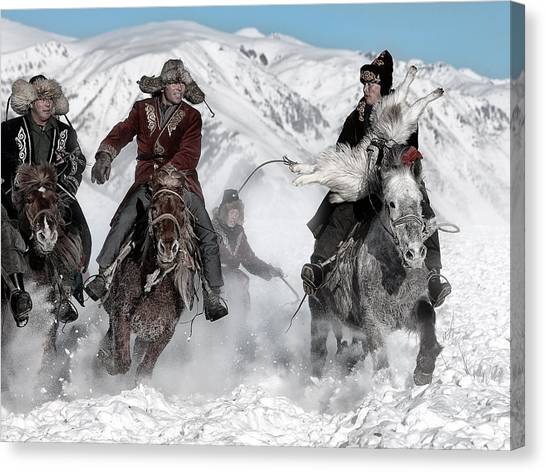 Race Horses Canvas Print - Winter Horse Race by Bj Yang