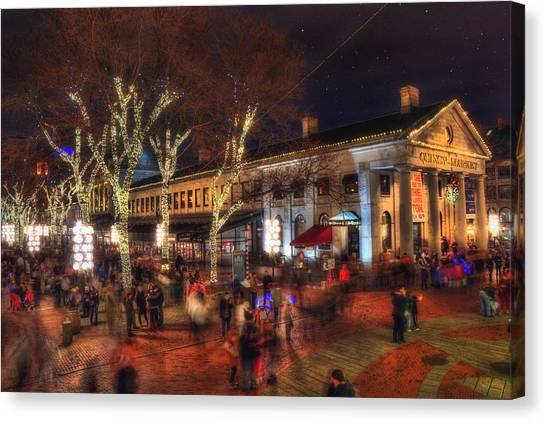 Winter In Boston - Quincy Market Canvas Print