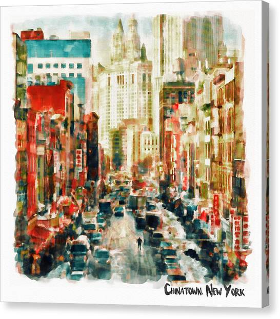 China Town Canvas Print - Winter In Chinatown - New York by Marian Voicu
