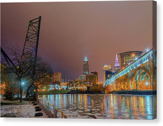Winter In Cleveland, Ohio  Canvas Print