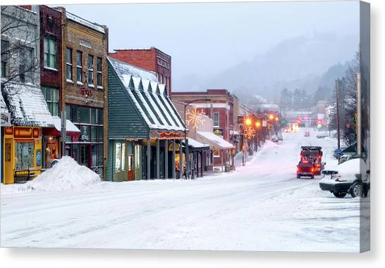 Sun Belt Canvas Print - Winter In Downtown Boone by Tommy White