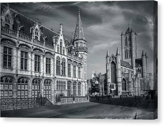 Gent Canvas Print - Winter In Ghent Belgium Black And White  by Carol Japp