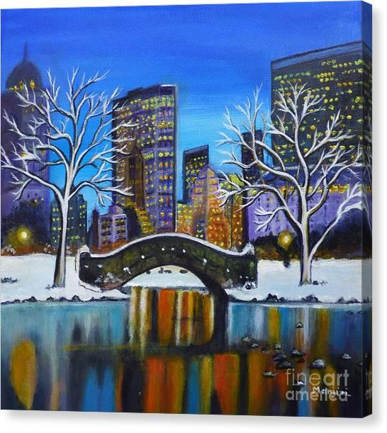 Winter In New York- Night Landscape Canvas Print