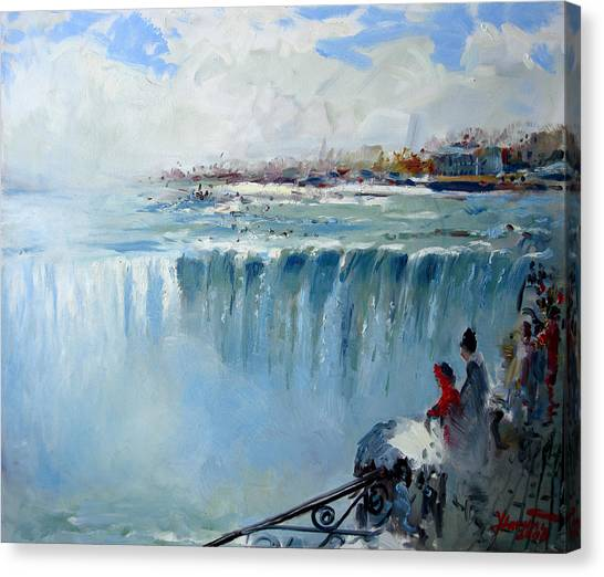 Horseshoe Falls Canvas Print - Winter In Niagara Falls by Ylli Haruni
