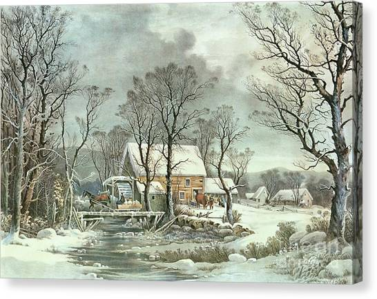 Snow Canvas Print - Winter In The Country - The Old Grist Mill by Currier and Ives