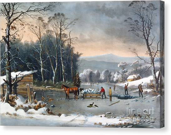 Dogs In Snow Canvas Print - Winter In The Country by Currier and Ives