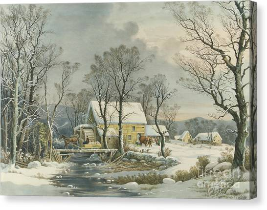 Currier And Ives Canvas Print - Winter In The Country, The Old Grist Mill, 1864  by Currier and Ives