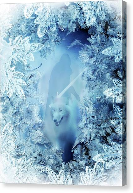 Winter Is Here - Jon Snow And Ghost - Game Of Thrones Canvas Print