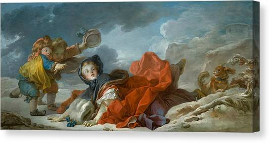 Rococo Art Canvas Print - Winter  by Jean-Honore Fragonard