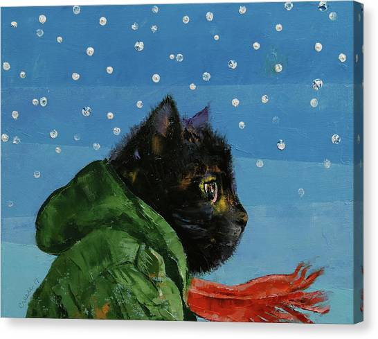 Snowflakes Canvas Print - Winter Kitten by Michael Creese