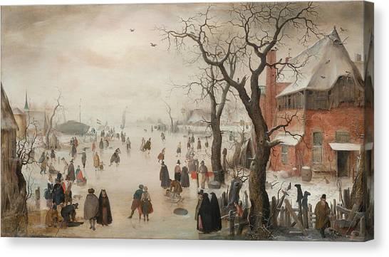 Rijksmuseum Canvas Print - Winter Landscape Near A Village, C. 1610 by Hendrick Avercamp