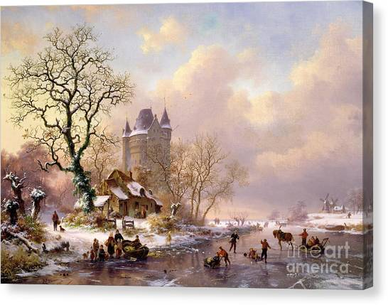 Fantasy Canvas Print - Winter Landscape With Castle by Frederick Marianus Kruseman