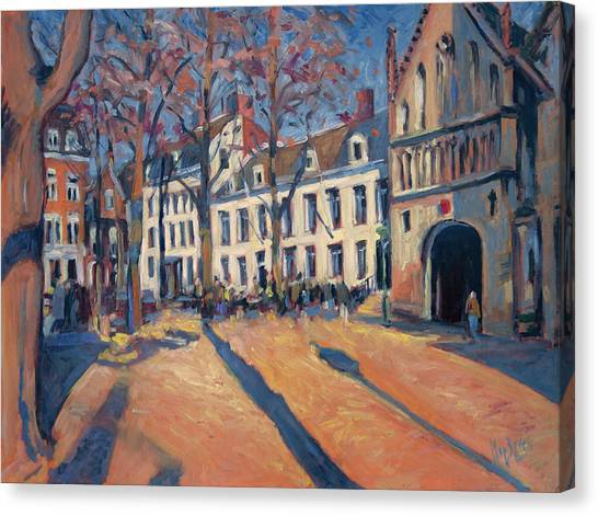 Winter Light At The Our Lady Square In Maastricht Canvas Print