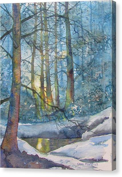Winter Light In The Forest Canvas Print