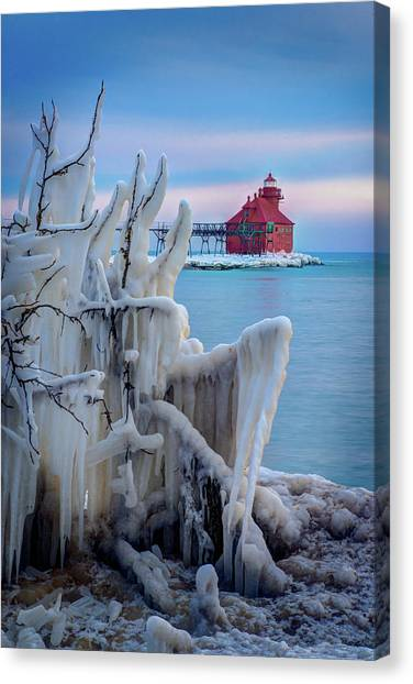 Winter Lighthouse Canvas Print