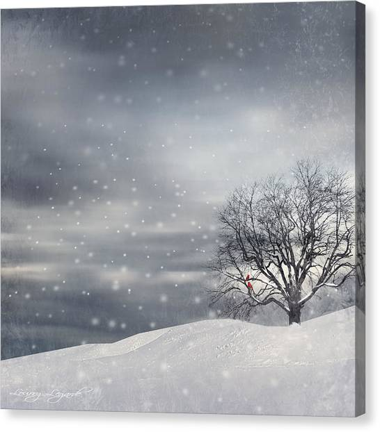 Falling Leaf Canvas Print - Winter by Lourry Legarde