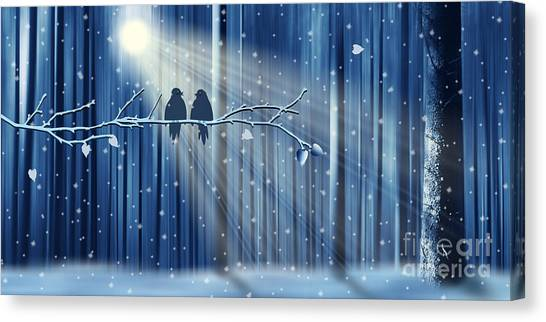 Blue Canvas Print - Winter Love by Monika Juengling